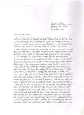 Lt Col George Merz's reply to Gen Sir Frank King regarding events at Arnhem