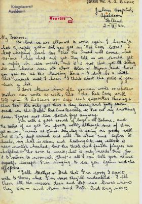 Letter home from Pte Geoffrey Baker, Juliana  Hospital, 2 November 1944