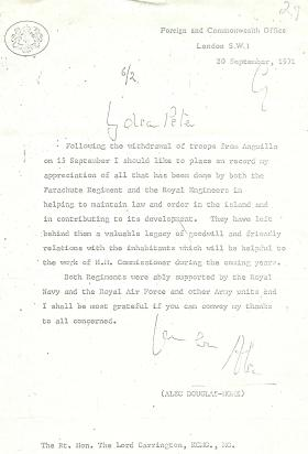 Letter of gratitude to 2 PARA and Royal Engineers from Alec Douglas-Home.