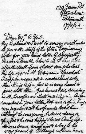 Letter to Mrs O'Neil from the parents of Pte Johns, 17 August 1944.