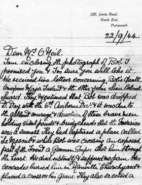Letter to Mrs O'Neil from the parents of Pte Johns, 22 September 1944.