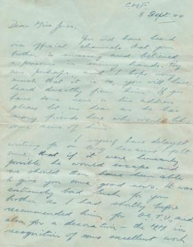 Letter to Miss Jones about her brother, A/Sgt William Jones, 1944.