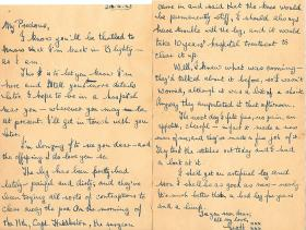 Pte Baker's letter home, sent from a British hospital after liberation, Britain, 21 April 1945.