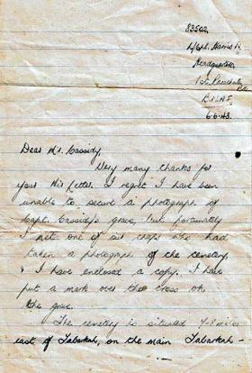 Letter to the father of Capt Cassidy from L/Cpl Norman Harris, 6 June 1943.