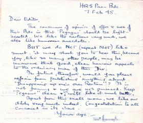 Letter from HQ 5 Para Brigade to Charles Strafford, Editor of 'Pegasus Goes To It!' 7 February 1945