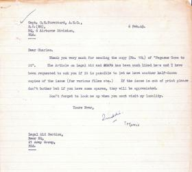 Letter to Charles Strafford, Editor of 'Pegasus Goes To It!' 6 February 1945