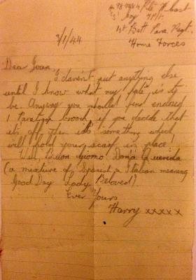 Letter from Harry Cast to his sweetheart Joan Godfrey, January 1944.
