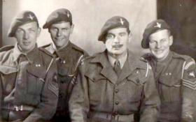 Lt 'Bob' Midwood with Sgts Hulme, Jack Leveret and Boardman, April 1944.