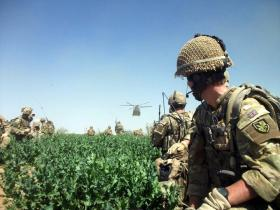 Members C Coy, 3 PARA waiting to be collected by a Chinook, Afghanistan, 2011.