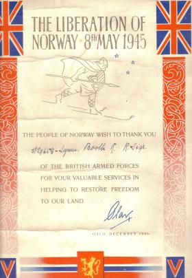 Liberation of Norway certificate awarded to Ronald Booth, December 1945