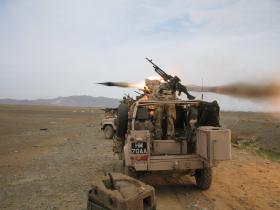 MILAN missile firing from a WMIK, Afghanistan, Op Herrick IV, 2006.