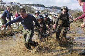 The Log Race, P Coy, ITC Catterick, March 2013.