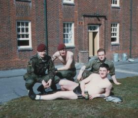 Men of 144 PFA relaxing after the end of a Combat Medical Course, Longmoor training camp, April 1984