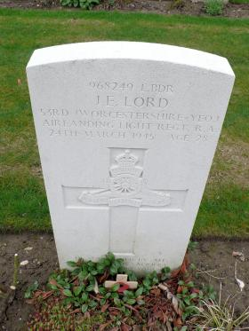 Headstone for L/Bdr 'Jack' Lord, Reichswald Forest War Cemetery Germany, 2010.