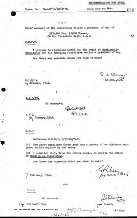 Citation for the Mentioned in Despatches for Pte Thomas Lorne.