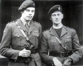 Lt J L Williams & Rev R Talbot-Watkins at Buckingham Palace receiving their awards. Dec 1945.