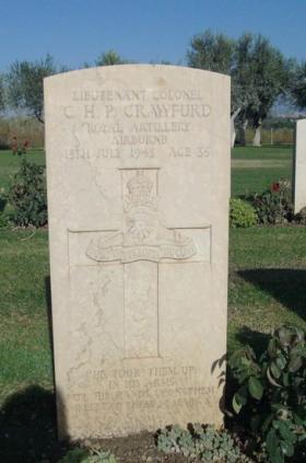 Grave of Lt Col CHP Crawfurd, Catania C.W.G.C. Cemetery, 2. J. 23