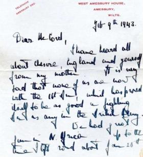 A letter from Lt Col Hill to Cpl McCord, 9 Feb 1943.