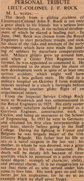 A personal tribute to Lt Col J Rock, 1942.