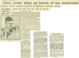 Newspaper cutting about the death of Lt Col John Rock, October 1942