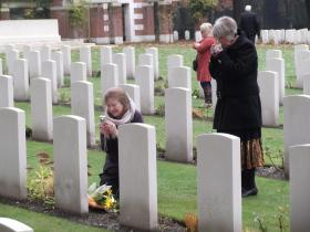 The daughter & grand-daughter of Lt Col Smyth pay their respects at his grave, Oosterbeek Cemetery, 20 October 2012.