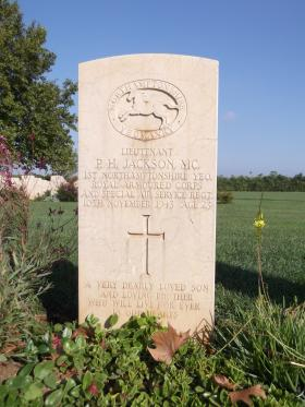 Headstone for Lt PH Jackson MC, Bari War Cemetery, November 2011.