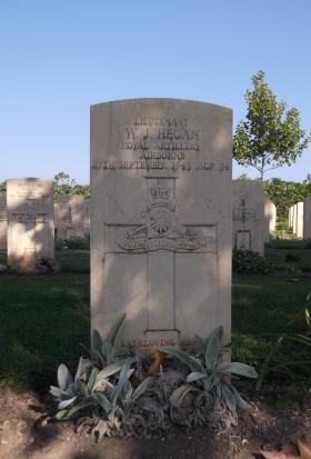 Headstone of Lt WJ Hegan, Bari War Cemetery, November 2011.