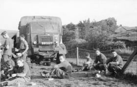 Lunch stop on way to Wales, 1958