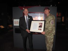 Presentation of John Timothy's Miniatures, by the CO 4 PARA to the Chairman of Marks & Spencer, Duxford, 2012.
