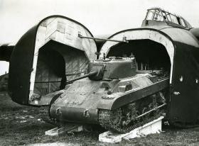 M22 Locust being driven off a Hamilcar with the aid of ramps, c.1945