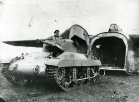 M22 Locust Airborne Tank in front of a Hamilcar Glider, c.1945