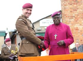 The Archbishop of York and Maj Gen Shaw, Airborne Forces Day, Eden Camp, 2010
