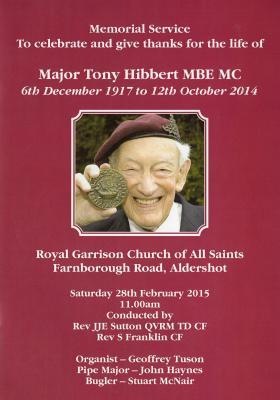 Order of Service for Major Tony Hibbert's Memorial Service, Saturday 28 February 2015.