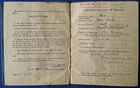 Extracts from Major DR Reid's service book