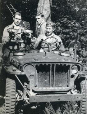 An SAS Jeep with Maj Fenwick in the drivers seat, France, 1944.