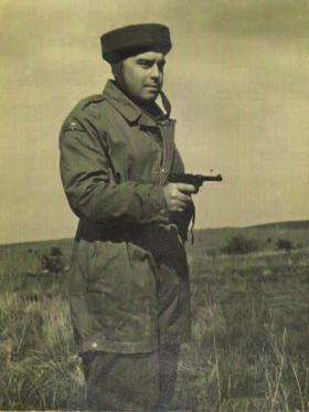 Major Geoff Rothery wearing a Step-in Smock circa 1941