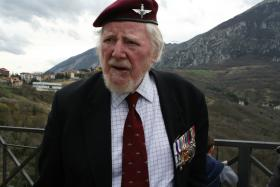 After 70 years Major Hargreaves MC revisits Palombaro, Italy, March 2013.