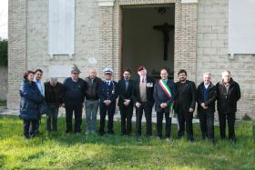 Maj Hargreaves MC with Mayor D'Alessandro and the City Council of Orsogna, Italy, March 2013.