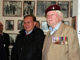 Major Hargreaves MC with the Mayor of Ortona, Vincenzo D'Ottavio, Italy, March 2013.