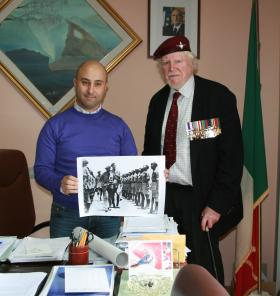 Major Hargreaves MC with the Mayor of Pennapiedimonte Giuseppe Di Girgio, Italy, March 2013.