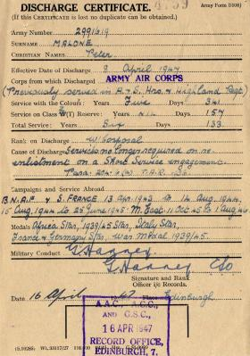 Discharge Certificate for Cpl Peter Malone, April 1947.