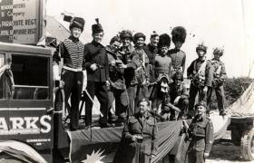 Members of HQ B Coy,  14th Parachute Battalion (TA), Portsmouth Carnival, date unknown.
