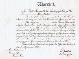WO1 Malone's Warrant, 1961.