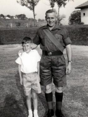 WO1 Peter Malone and son, Singapore, mid 1960s.