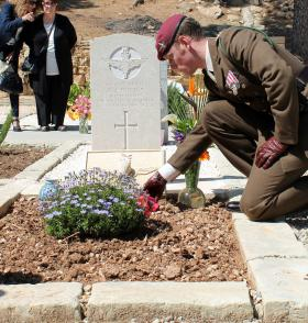 3 PARA Adj P Billings at the Dedication Ceremony of Pte Walton's new headstone  Pembroke Cemetery, Malta, 2013.