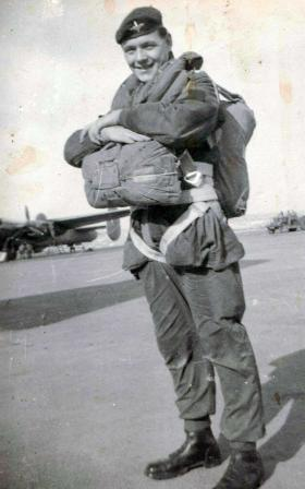 Pte Derrick Frank at an airfield in Malta ready for exercise in North Africa, c1958.