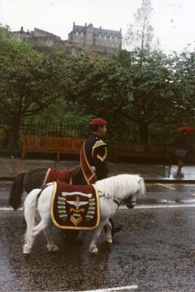 Mascots and the Pony Major on Parade in Edinburgh, c.1990s
