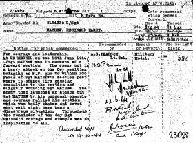 Citation for award of Military Medal to L/Sgt Reg Mayhew, Normandy, 1944.