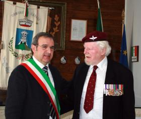 Major Hargrevaes MC with Sergio De Luca, Mayor of Casoli, Italy, 2013.