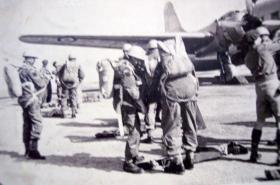 Members of 2 PARA preparing to emplane for Cyprus drop, c1951.